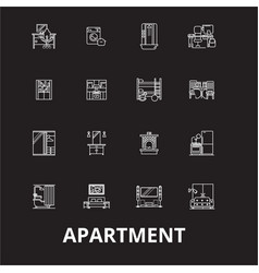 apartment editable line icons set on black vector image