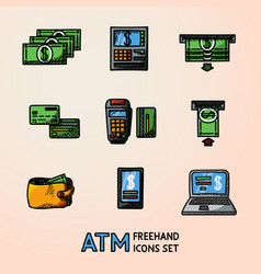atm doodle set sketch icons machine cards wallet vector image
