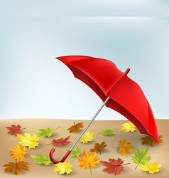 Autumn frame with umbrella and leaves vector