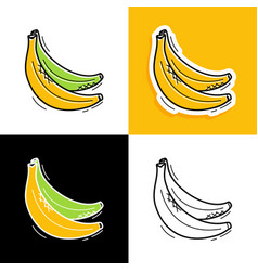 banana set hand drawn doodle banana icon vector image