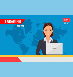 beautiful young tv newscaster woman vector image