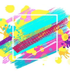 Big square frame made of colored handprints vector