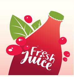 bottle with inscription fresh juice vector image