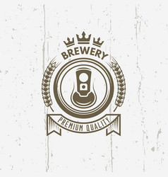 Brewery vintage label with beer can vector
