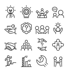 business consultant icon set in thin line style vector image
