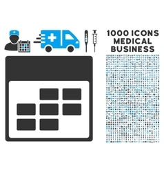 Calendar Month Grid Icon With 1000 Medical vector