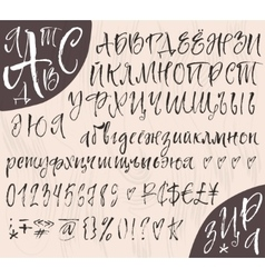 Calligraphic cyrillic big alphabetical set vector image