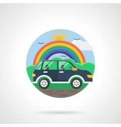 Car and rainbow color detailed icon vector