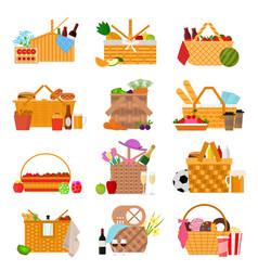cartoon color picnic baskets icon set vector image
