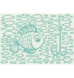 Cartoon drawing of big fish vector image
