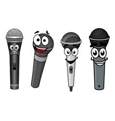 Cartoon happy wireless microphones characters vector image