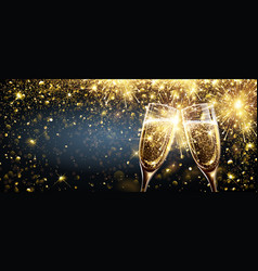Champagne with firework effect explosion vector