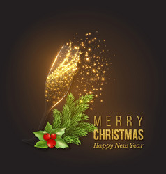 Christmas golden decoration with champagne splash vector