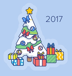 Christmas tree with gifts. vector image
