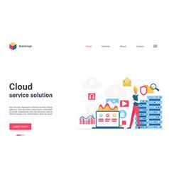 cloud service solution landing page user man vector image