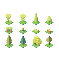 collection trees with figures leaf vector image