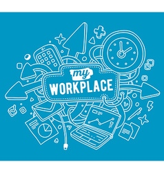 colorful of white office objects with text o vector image