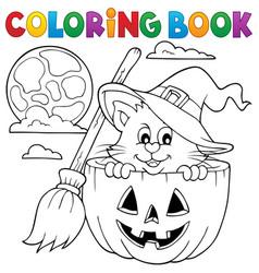Coloring book halloween theme 1 vector