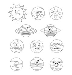 colorless set of solar system planets vector image