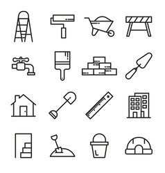 Construction tools line icons set vector