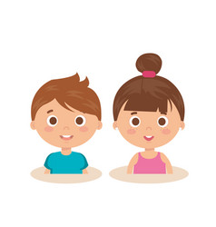 Couple little kids characters vector