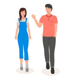 couple young girl guy waving hand pretty vector image