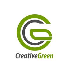 creative green initial letter cg gc c logo vector image