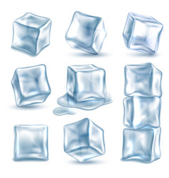 Cubes ice 3d ice piece different angles vector
