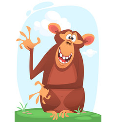 cute cartoon monkey character icon vector image