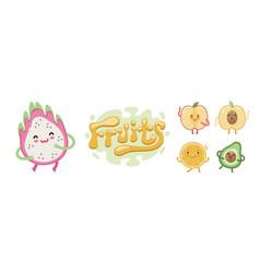 cute fruits emoji set vector image
