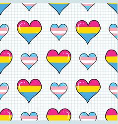 cute transgender pansexual heart cartoon seamless vector image