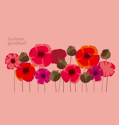 Decorative wild meadow boho style poppie flowers vector