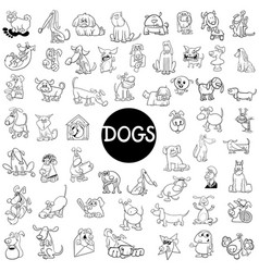 Dog characters large set vector