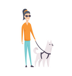 Dog companion and blind girl on walk isolated on vector