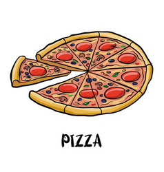 drawing pizza vector image