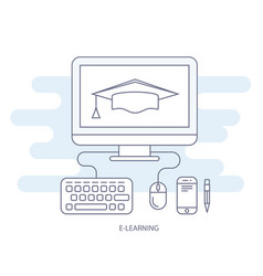 E-learning and e-education icon - distant vector