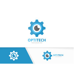 eye and gear logo combination optic and vector image