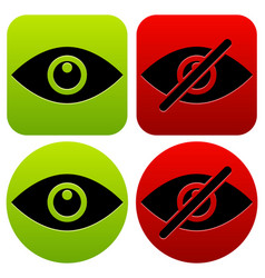 eye symbols as show hide visible invisible public vector image