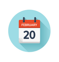 february 20 flat daily calendar icon date vector image