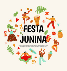 festa junina poster latin dancing party vector image