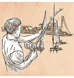 Fishing fisherman - an hand drawn line art vector