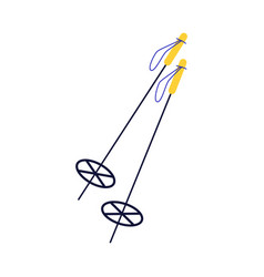 flat ski sticks with yellow handles icon vector image
