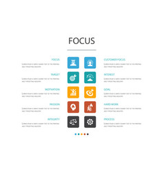 Focus infographic 10 option templatetarget vector