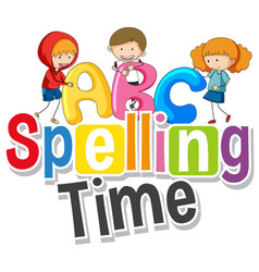 font design for word spelling time with kids in vector image