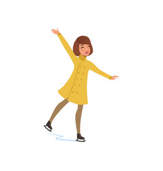 girl in warm clothes ice skating vector image