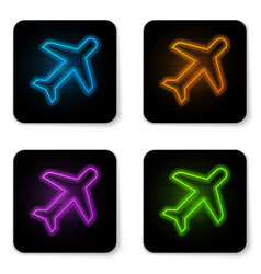 glowing neon plane icon isolated on white vector image