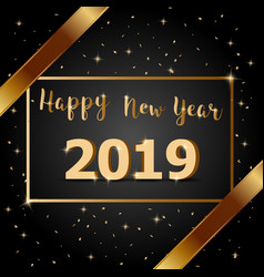 golden bow happy new year 2019 with dark vector image