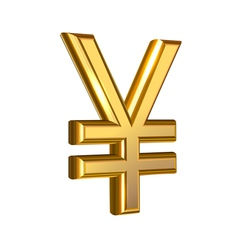 Golden Yen on white vector