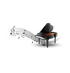Grand piano with music notes vector