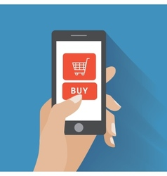 Hand holding smartphone with buy button vector